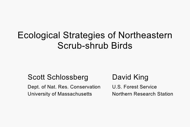 Ecological Strategies of Northeastern Scrub-shrub Birds Scott Schlossberg David King Dept. of Nat. Res. Conservation  U.S....