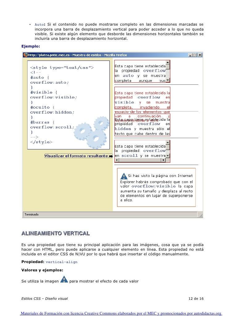 •   Auto: Si el contenido no puede mostrarse completo en las dimensiones marcadas se         incorpora una barra de despla...