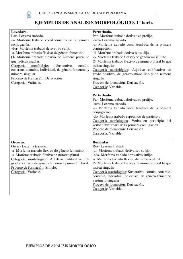 """COLEGIO """"LA INMACULADA"""" DE CAMPONARAYA. EJEMPLOS DE ANÁLISIS MORFOLÓGICO 1 EJEMPLOS DE ANÁLISIS MORFOLÓGICO. 1º bach. Lava..."""