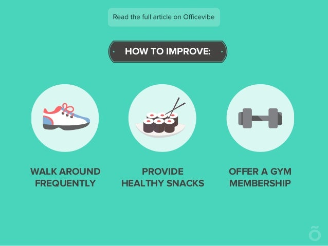 HOW TO IMPROVE: WALK AROUND FREQUENTLY PROVIDE HEALTHY SNACKS OFFER A GYM MEMBERSHIP