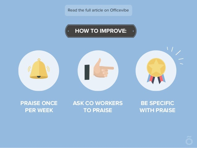 HOW TO IMPROVE: PRAISE ONCE PER WEEK ASK CO WORKERS TO PRAISE BE SPECIFIC WITH PRAISE