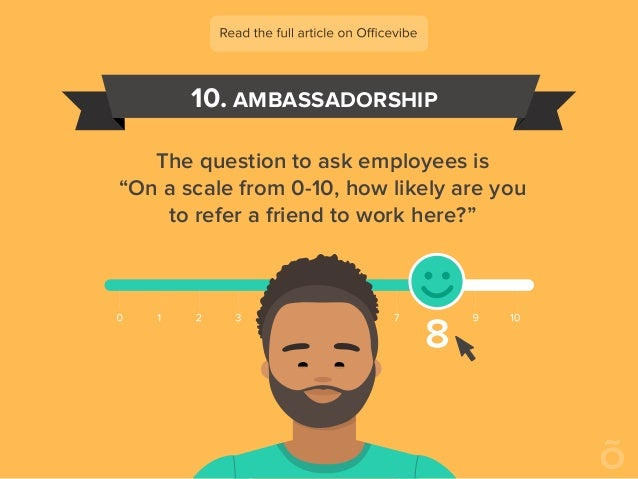 """10. AMBASSADORSHIP The question to ask employees is """"On a scale from 0-10, how likely are you to refer a friend to work he..."""
