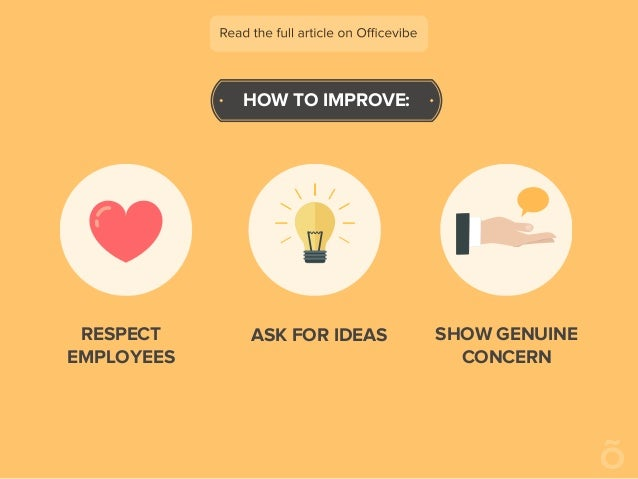 HOW TO IMPROVE: RESPECT EMPLOYEES ASK FOR IDEAS SHOW GENUINE CONCERN