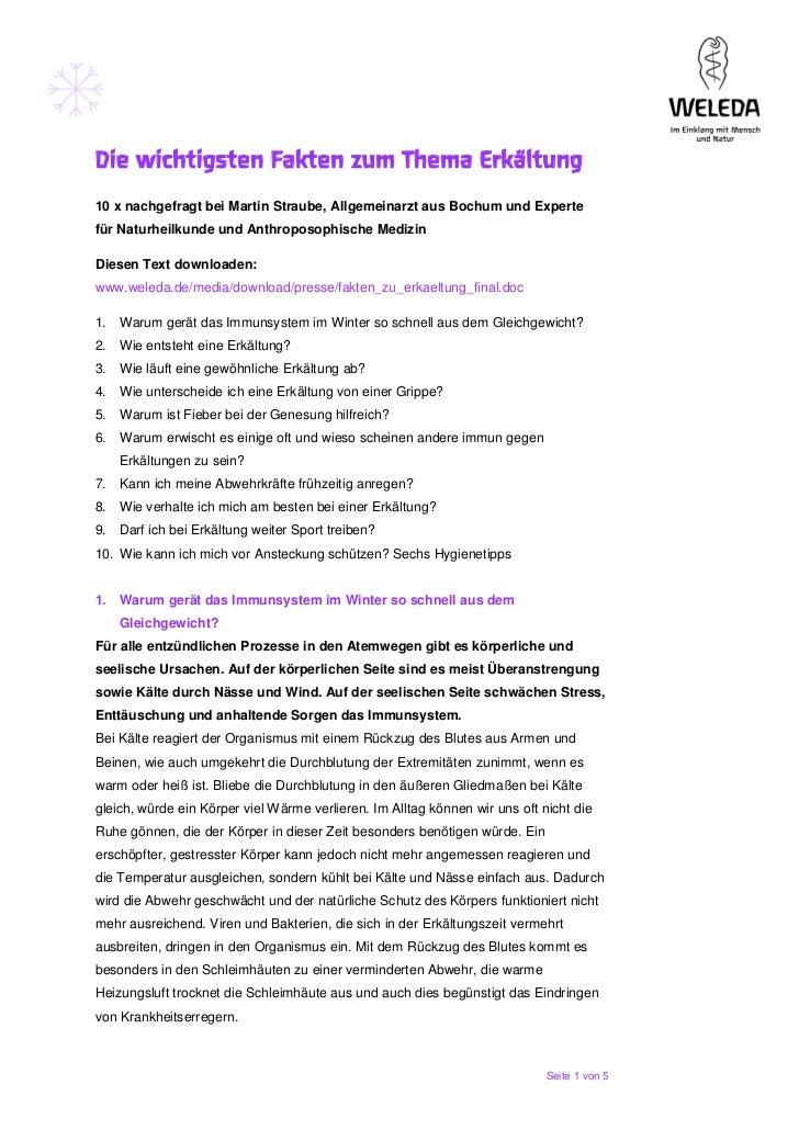 Die wichtigsten Fakten zum Thema Erkältung10 x nachgefragt bei Martin Straube, Allgemeinarzt aus Bochum und Expertefür Nat...