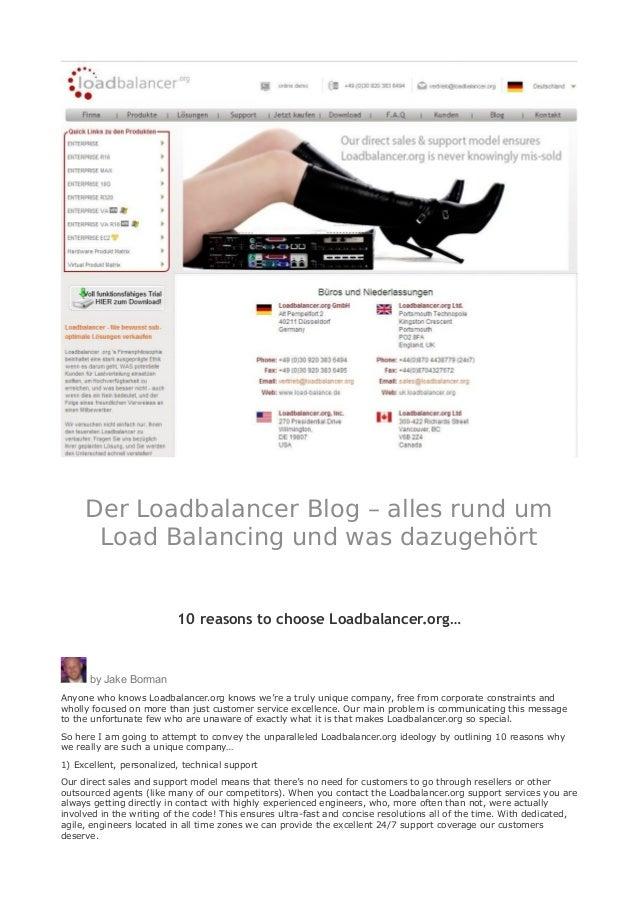 Der Loadbalancer Blog – alles rund um Load Balancing und was dazugehört 10 reasons to choose Loadbalancer.org… by Jake Bor...