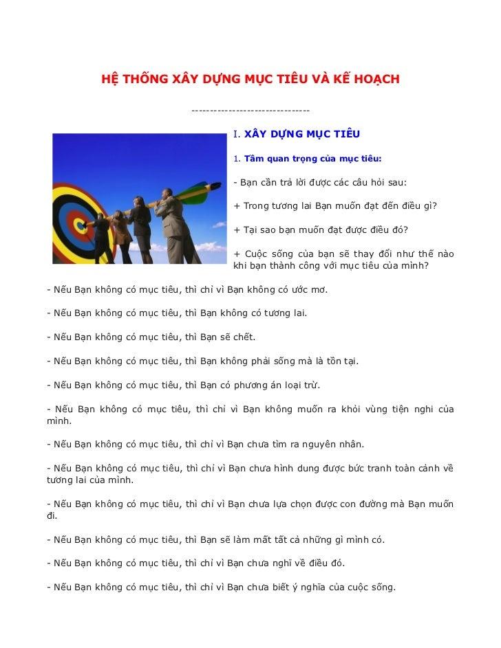 HỆ THỐNG XÂY DỰNG MỤC TIÊU VÀ KẾ HOẠCH                               --------------------------------                     ...