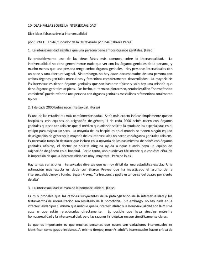 10-IDEAS-FALSAS SOBRE LA INTERSEXUALIDADDiez ideas falsas sobre la intersexualidadpor Curtis E. Hinkle, fundador de la OII...