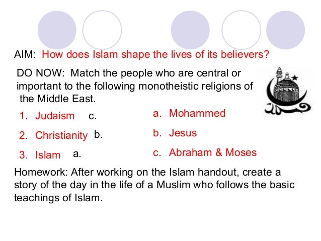 AIM: How does Islam shape the lives of its believers? DO NOW: Match the people who are central or important to the followi...
