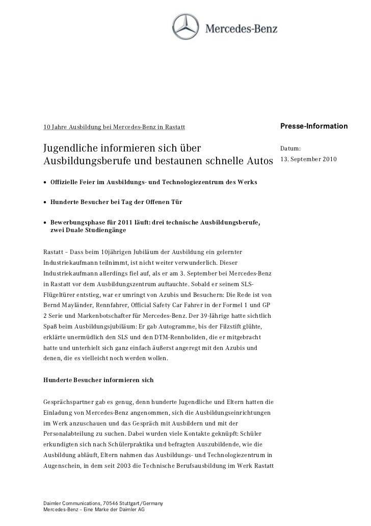 10 Jahre Ausbildung bei Mercedes-Benz in Rastatt                                  Presse-InformationJugendliche informiere...