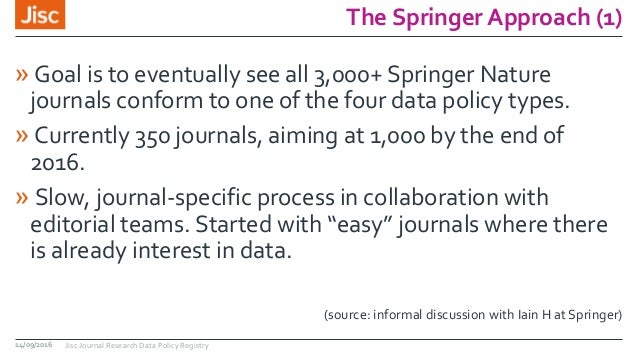 The Springer Approach (1) » Goal is to eventually see all 3,000+ Springer Nature journals conform to one of the four data ...