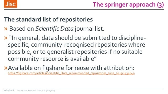 """The springer approach (3) » Based on Scientific Data journal list. » """"In general, data should be submitted to discipline- ..."""