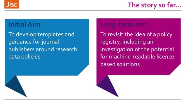 The story so far… Initial Aim To develop templates and guidance for journal publishers around research data policies Long-...