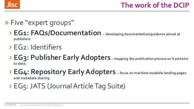 """The work of the DCIP » Five """"expert groups"""" › EG1: FAQs/Documentation – developing documentation/guidance aimed at publish..."""