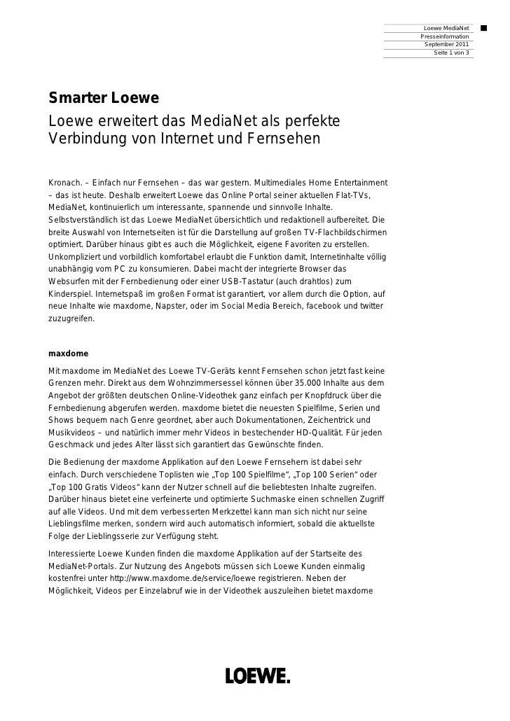 Loewe MediaNet                                                                                               Presseinforma...