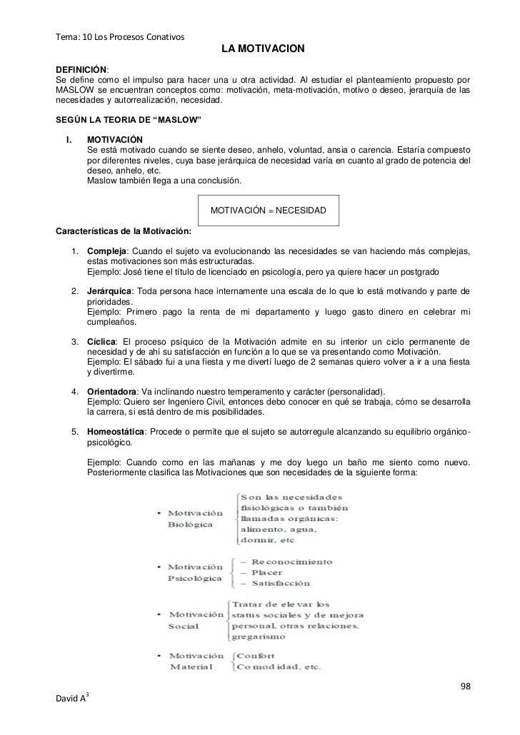 Tema: 10 Los Procesos Conativos                                         LA MOTIVACIONDEFINICIÓN:Se define como el impulso ...