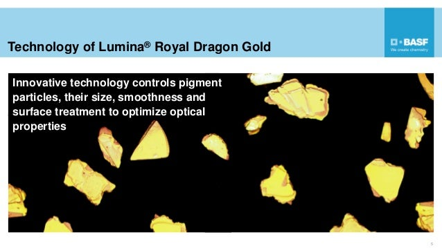 Technology of Lumina® Royal Dragon Gold 5 Innovative technology controls pigment particles, their size, smoothness and sur...
