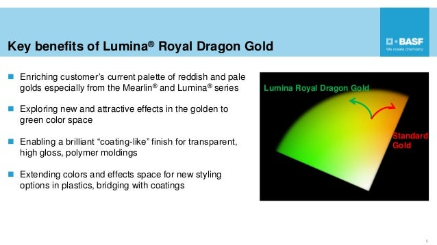 Key benefits of Lumina® Royal Dragon Gold  Enriching customer's current palette of reddish and pale golds especially from...