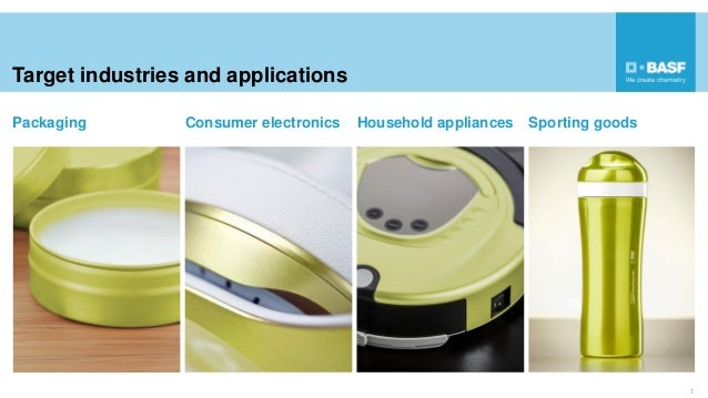 Target industries and applications 7 Packaging Consumer electronics Household appliances Sporting goods