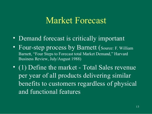 four steps to forecast total market Sales forecasting is a difficult area  or are we trying to forecast what will happen to the overall size of the market in the next five years (4)  the first stage in creating the sales forecast is to estimate market.