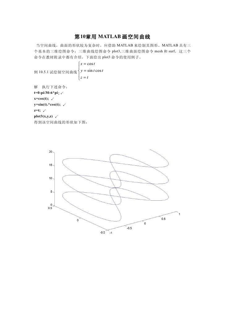 第 10章用 MATLAB 画空间曲线  当空间曲线,曲面的形状较为复杂时,应借助 MATLAB 来绘制其图形。MATLAB 具有三 个基本的三维绘图命令:三维曲线绘图命令 plot3,三维曲面绘图命令 mesh 和 surf,这三个 命令在教...