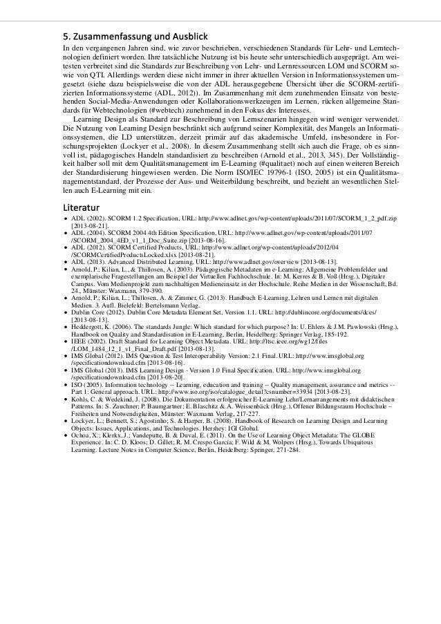 Standards für Lehr- und Lerntechnologien - Metadaten, Inhaltsformate und Beschreibung von Lernprozessen