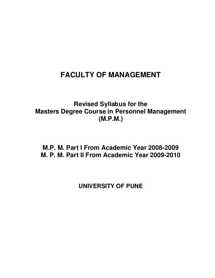 FACULTY OF MANAGEMENT           Revised Syllabus for theMasters Degree Course in Personnel Management                   (M...