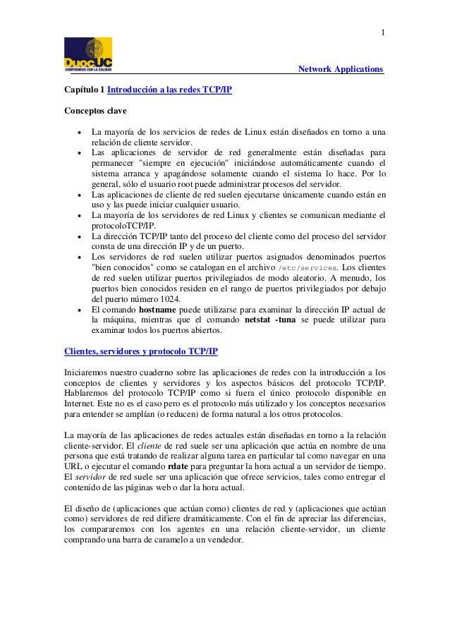 1  Network Applications Capítulo 1 Introducción a las redes TCP/IP Conceptos clave • •  • • • •  •  La mayoría de los serv...