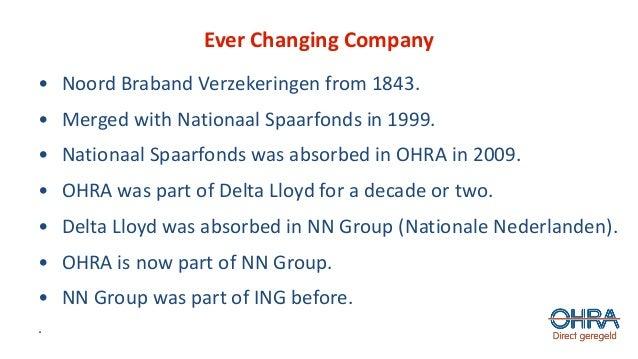 Ever Changing Company • Noord Braband Verzekeringen from 1843. • Merged with Nationaal Spaarfonds in 1999. • Nationaal Spa...