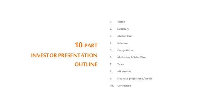 10-PART INVESTORPRESENTATION OUTLINE 1. Vision 2. Summary 3. Market Pain 4. Solution 5. Competition 6. Marketing &Sales Pl...