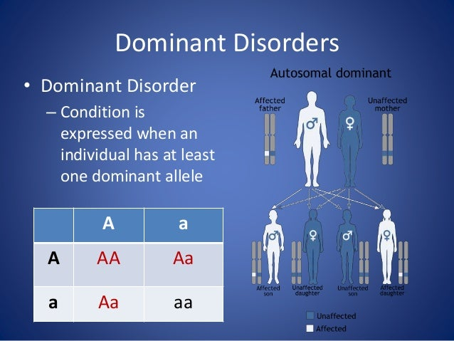 Dominant Disorders • Dominant Disorder – Condition is expressed when an individual has at least one dominant allele A a A ...