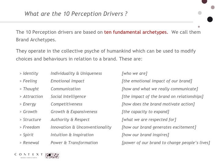 What are the 10 Perception Drivers ? The 10 Perception drivers are based on  ten fundamental archetypes.  We call them Bra...