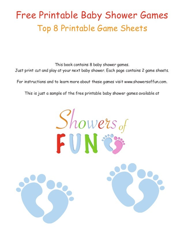 Free Printable Baby Shower Games Top 8 Printable Game Sheets This Book  Contains 8 Baby Shower ...