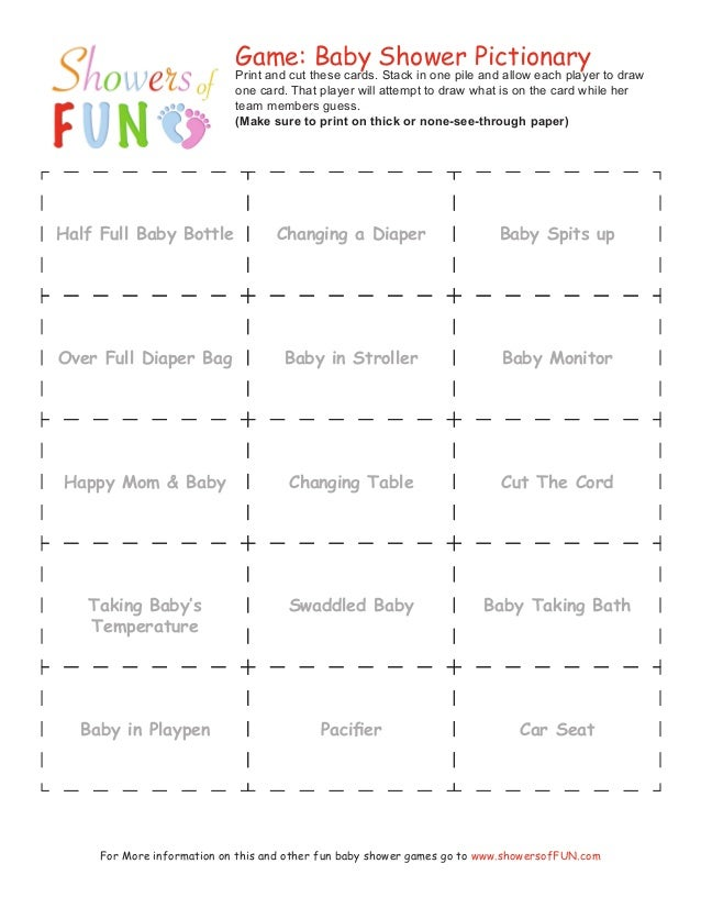 Free Printable Baby Shower Game Sheets