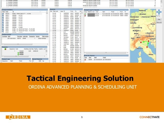Tactical Engineering SolutionORDINA ADVANCED PLANNING & SCHEDULING UNIT                    1