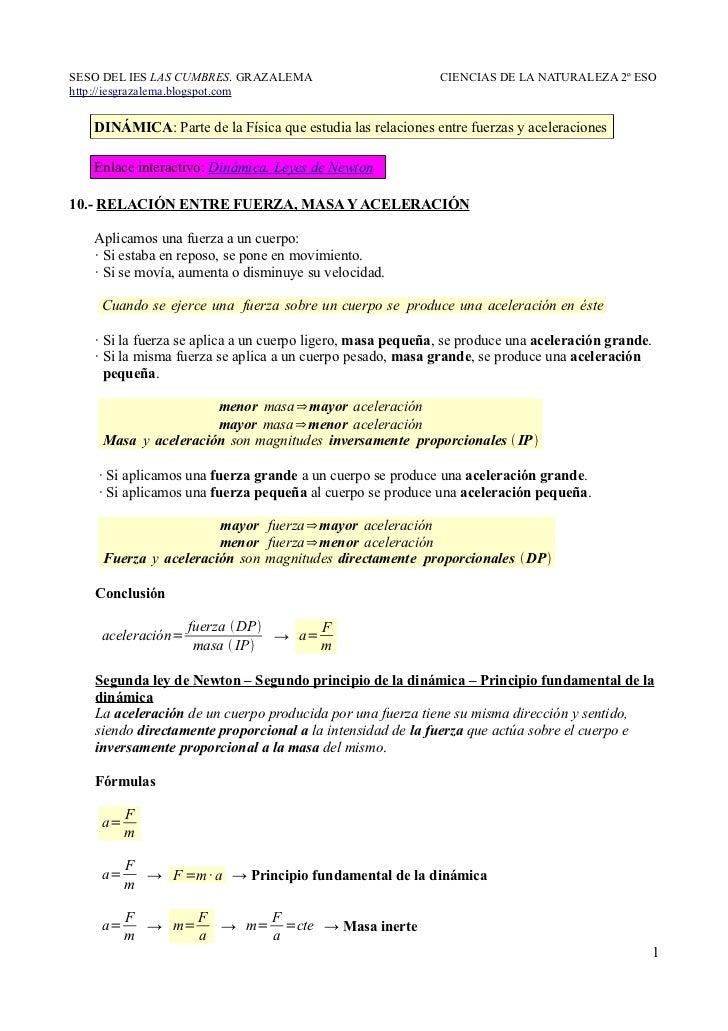 10.- Relación entre fuerza, masa y aceleración