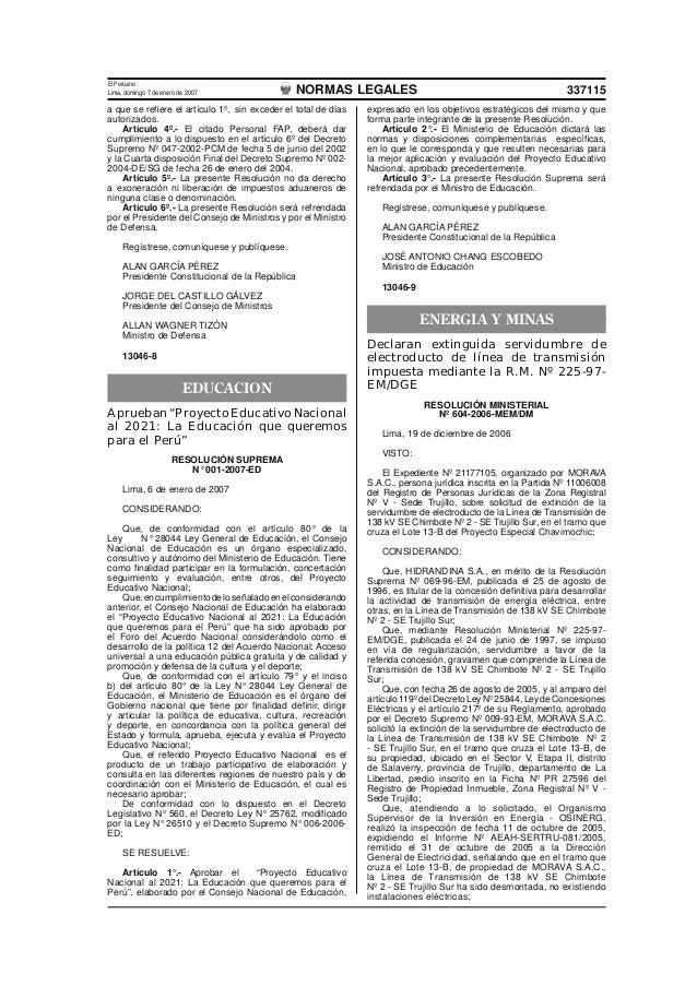 El PeruanoLima, domingo 7 de enero de 2007               NORMAS LEGALES                                                   ...