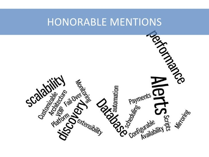 HONORABLE MENTIONS<br />