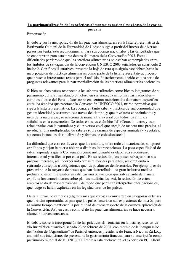La patrimonialización de las prácticas alimentarias nacionales: el caso de la cocinaperuanaPresentaciónEl debate por la in...