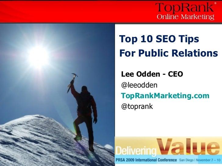 10 SEO Tips Public Relations PRSA09