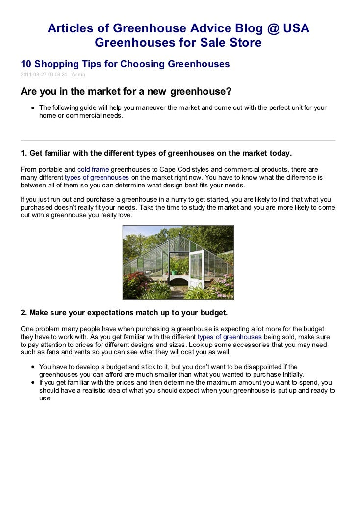 Articles of Greenhouse Advice Blog @ USA                  Greenhouses for Sale Store10 Shopping Tips for Choosing Greenhou...