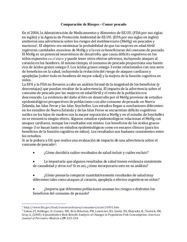 Comparación de Riesgos - Comer pescado En el 2004, la Administración de Medicamentos y Alimentos de EE.UU. (FDA por sus si...