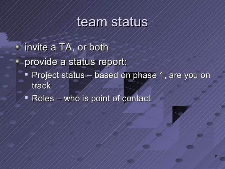 team statusinvite a TA, or bothprovide a status report:   Project status – based on phase 1, are you on    track   Roles...