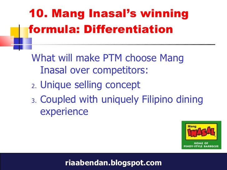 competitors analysis mang inasal Swot analysis of mang inasal essays and term papers search results for 'swot analysis of mang inasal' strategic plan for mang inasal strategic plan for mang inasal this document sets out a strategic plan for mang inasal it reviews strengths, weaknesses, threats and opportunities published this.