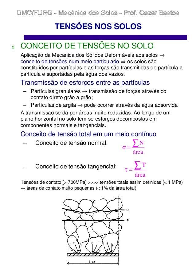 TENSÕES NOS SOLOS q CONCEITO DE TENSÕES NO SOLO Aplicação da Mecânica dos Sólidos Deformáveis aos solos → conceito de tens...