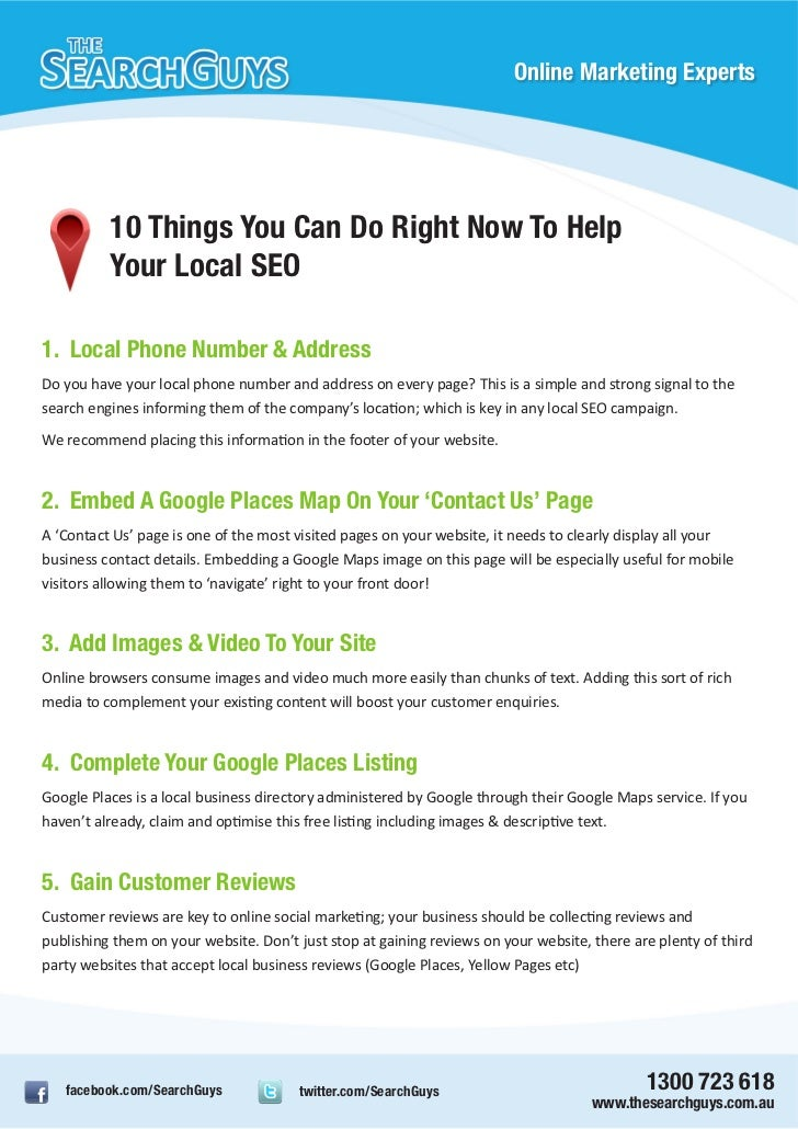 Online Marketing Experts          10 Things You Can Do Right Now To Help          Your Local SEO1. Local Phone Number & Ad...