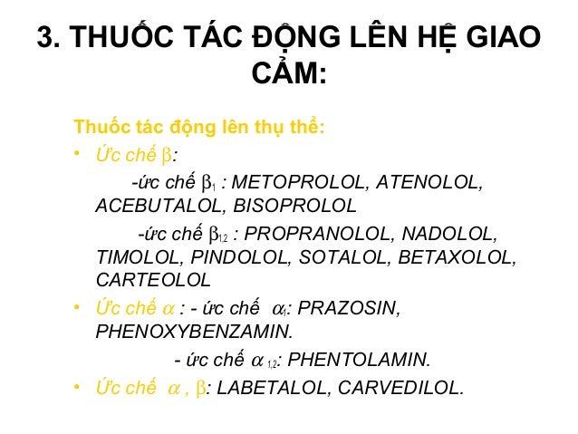 Ức chế α chọn lọc * PHENOXYBENZAMIN (Dibenzylin®): - Cơ chế tác dụng: • Gắn kết bền với receptor α1  ức chế không hồi phụ...