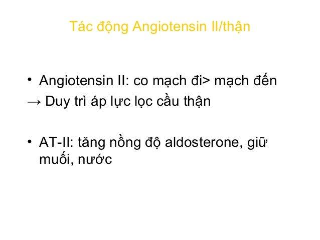 Angiotensinogen Angiotensin I Angiotensin II Co mạch ↑ sức đề kháng ngoại biên ↑ HUYẾT ÁP Bài tiết Aldosterone ↑ Giữ muối,...