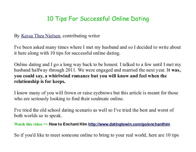Online dating tips the nine-step guide