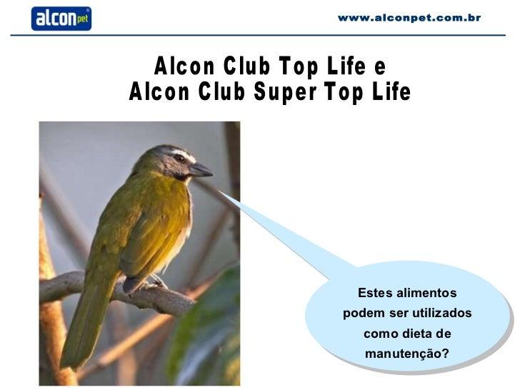 www.alconpet.com.br Estes alimentos podem ser utilizados como dieta de manutenção? Alcon Club Top Life e Alcon Club Super ...