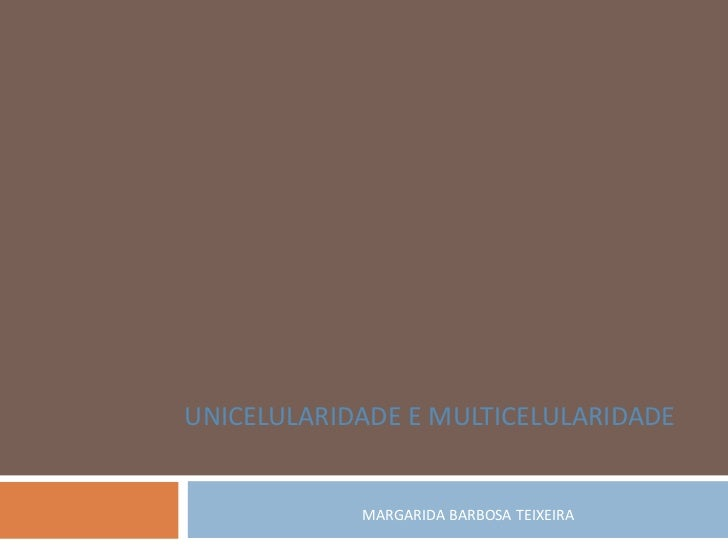 UNICELULARIDADE E MULTICELULARIDADE            MARGARIDA BARBOSA TEIXEIRA